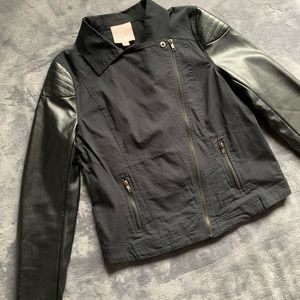 Black Zip-Up Jacket with Faux Leather Sleeves - S